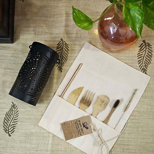 1 Lantern (Leaf/Mandala) + Ultimate Travel Kit (Copper Straw, Bamboo Brush)