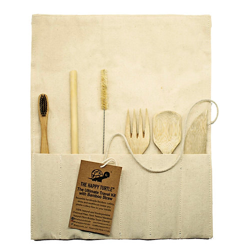 Ultimate Travel Kit with Bamboo Straw, Charcoal brush