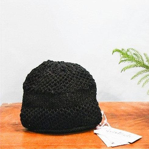 Black Honeycomb Hand Knit Beanie