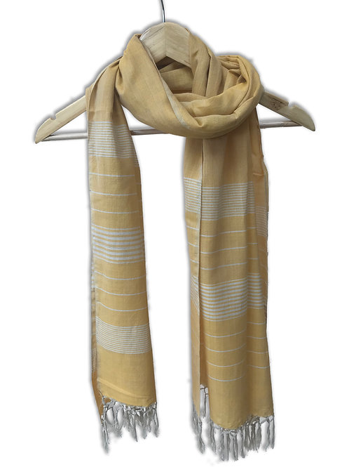 Handwoven Cotton Stole (Gold With Stripes)