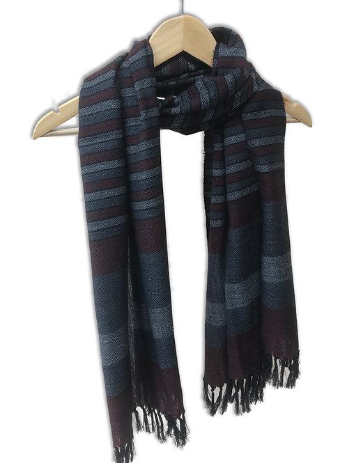 Handwoven Woollen Stole (Purple Blue Stripes)