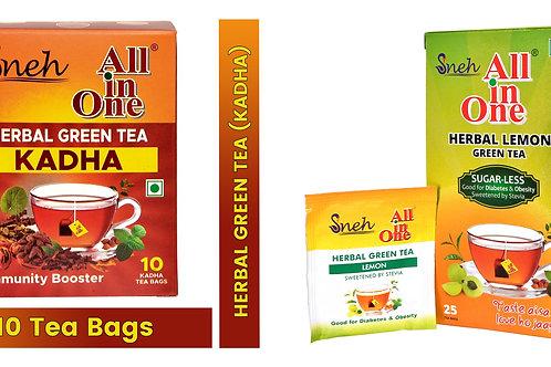 Combo Pack All in One Herbal Lemon Green Tea With Stevia + Herbal Green Tea