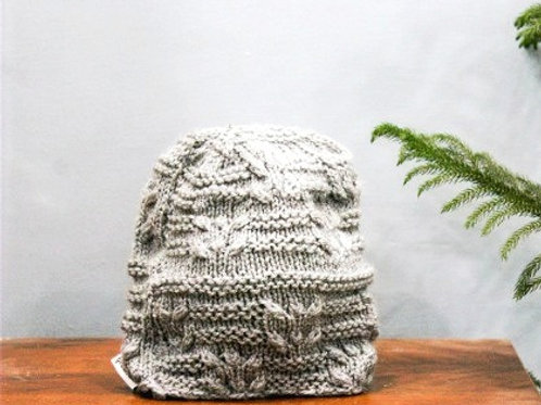 Grey Intricate Hand Knit Beanie