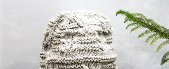 Grey Intricate Hand Knit Beanie