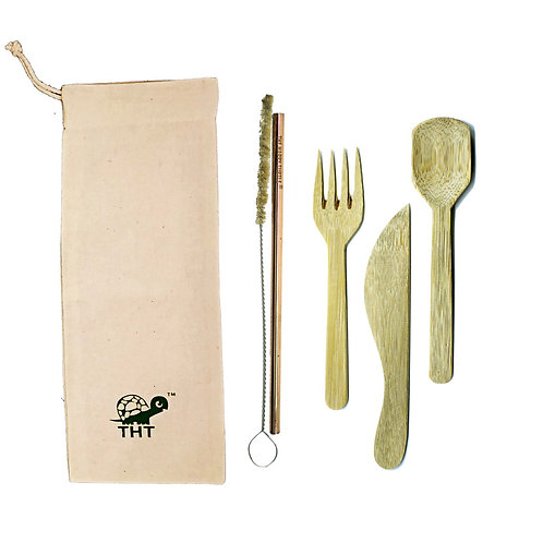 Green on the Go Bamboo Cutlery Set with Copper Straw