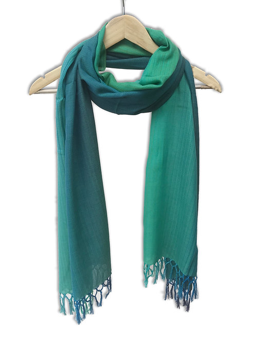 Handwoven Cotton Stole (Blue Green)