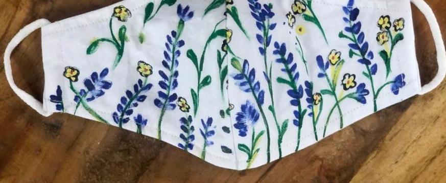 2 Layer Handpainted Cotton Masks (Flowers)