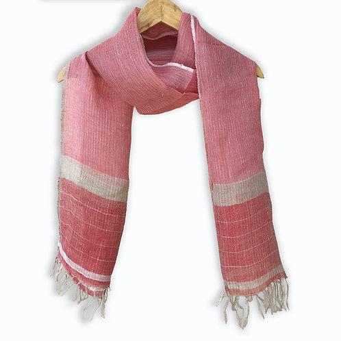 Handwoven Linen Stole (Summer Rose)
