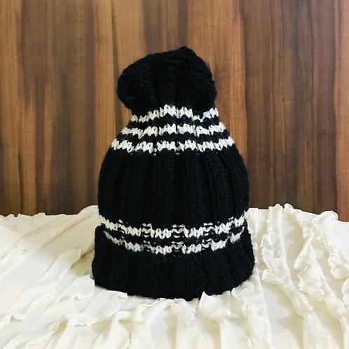 Black & White Hand-knit Beanie