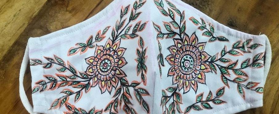 2 Layer Handpainted Cotton Masks (Rangoli)