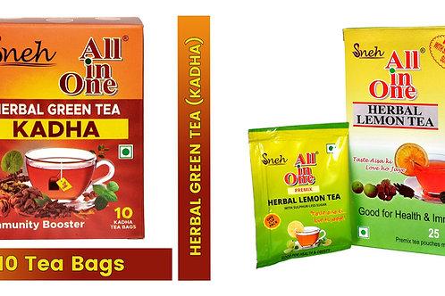 Combo Pack Of Herbal Lemon Tea Premix+ All In One Herbal Green Tea Kadha