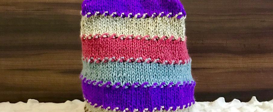 Multi-colour Hand-knit Beanie