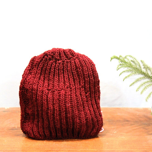Red Classic Hand-knit Beanie