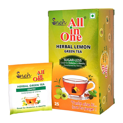 All In One Herbal Lemon Green Tea with Stevia -25 Tea Bag