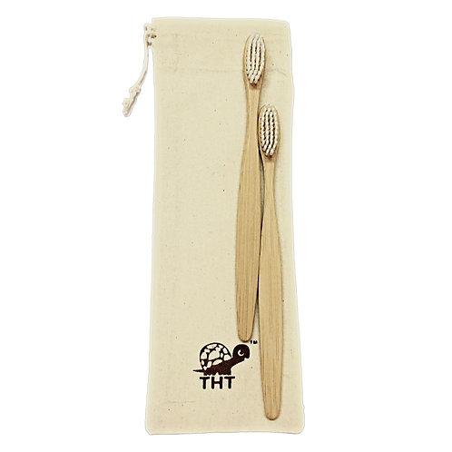 Bamboo Toothbrush Nylon Bristles (Pack of 2)