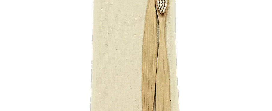 Bamboo Toothbrush Nylon Bristles (Pack of 2)