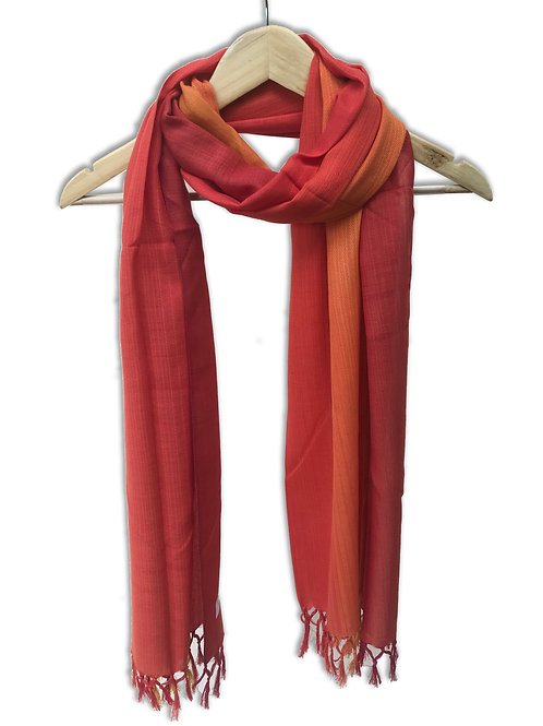 Handwoven Cotton Stole (Bright Red