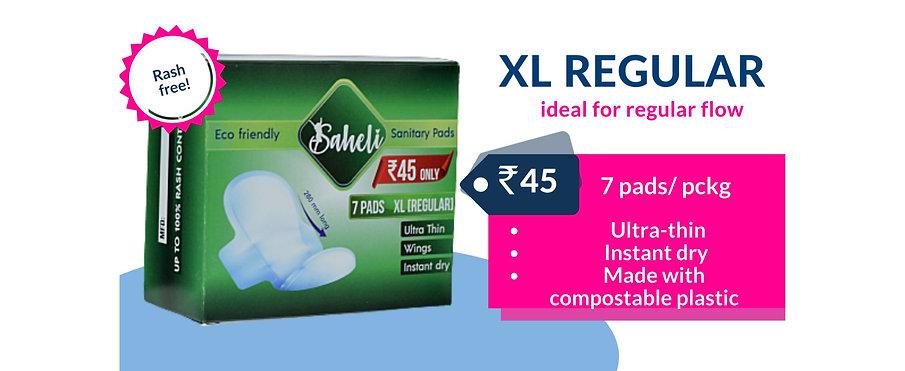 Saheli XL Regular Sanitary Napkins (Box of 7 Pads)