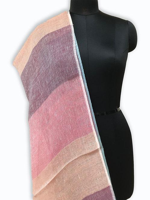 Handwoven Linen Dupatta (Pastel Pink)