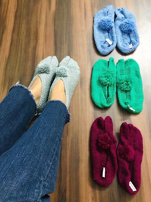 Grey Hand Knit Socks