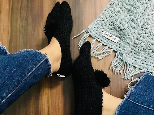 Black Hand Knit Socks