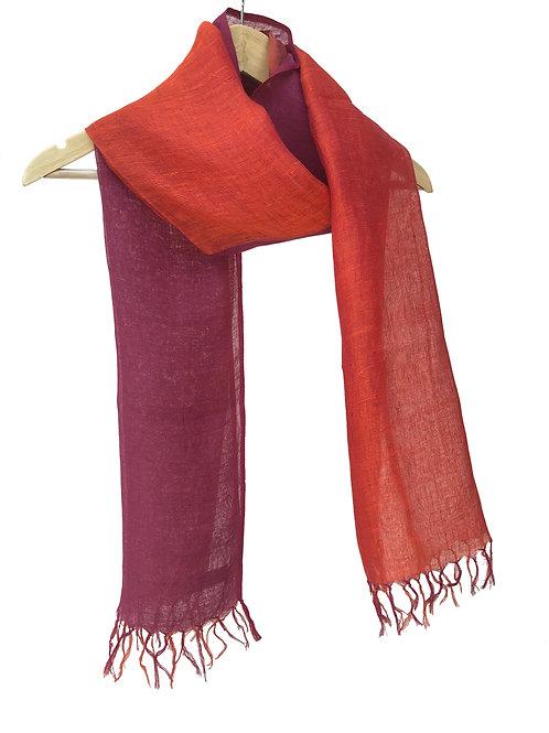 Handwoven Linen Stole (Flaming Sunset)