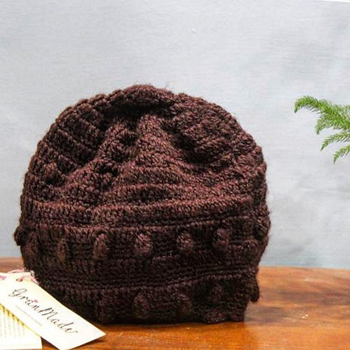Brown Crochet Hand-knit Beanie