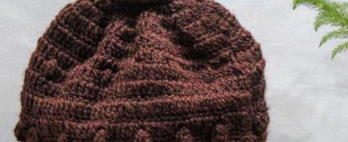 Brown Crochet Hand-knit Beanie