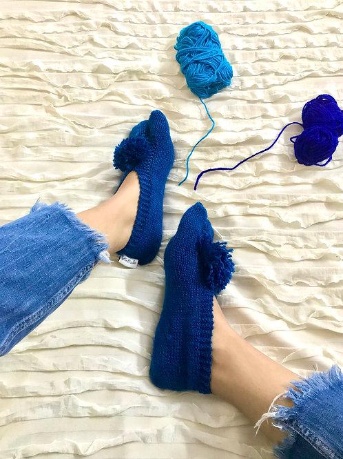Navy Blue Hand Knit Socks