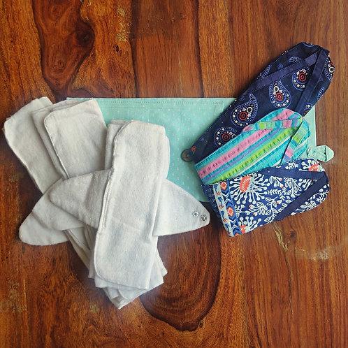 Unmukt Reusable Sanitary Napkins: Trial Kit (3 Pads + 2 Sleeves)