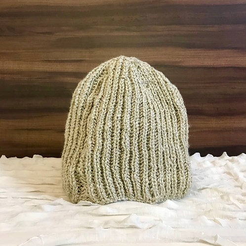 Beige Classic Hand-knit Beanie