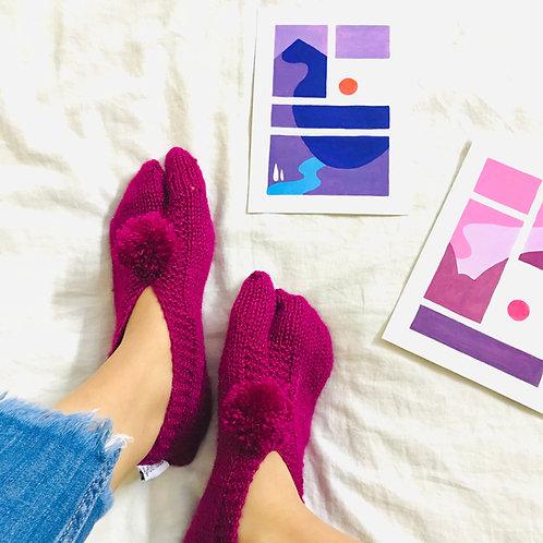 Wine Hand Knit Socks