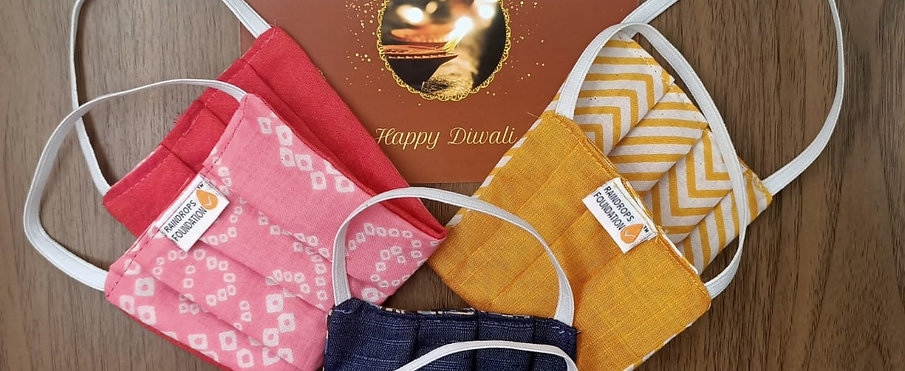 Pack of 3 Reversible Facemasks From Raindrops Foundation - Diwali Edition