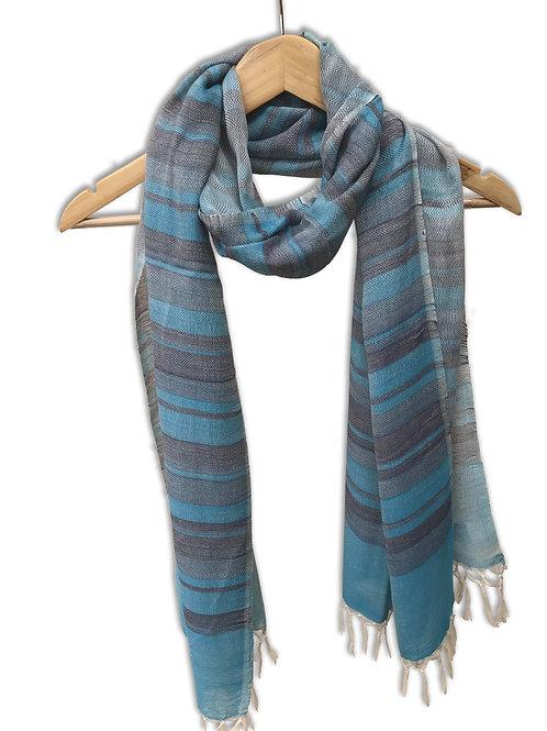 Handwoven Cotton Stole (Blue Stripes)