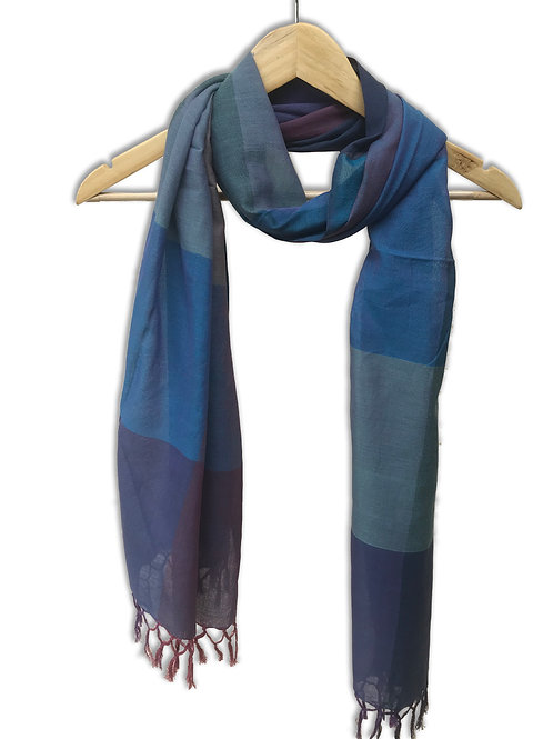 Handwoven Cotton Stole (Purple Blue)