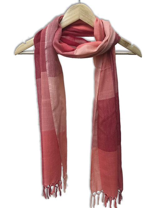 Handwoven Cotton Stole (Pink Blocks)