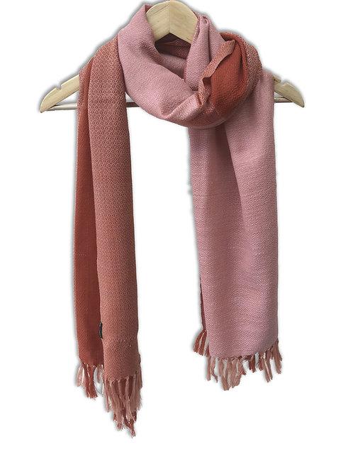 Handwoven Woollen Stole (Pink Patterns)