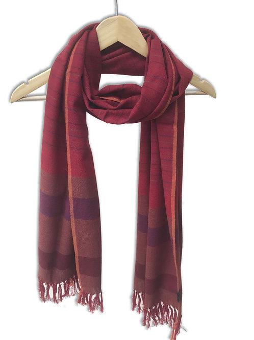 Handwoven Woollen Stole (Red Spectrum Stripes)