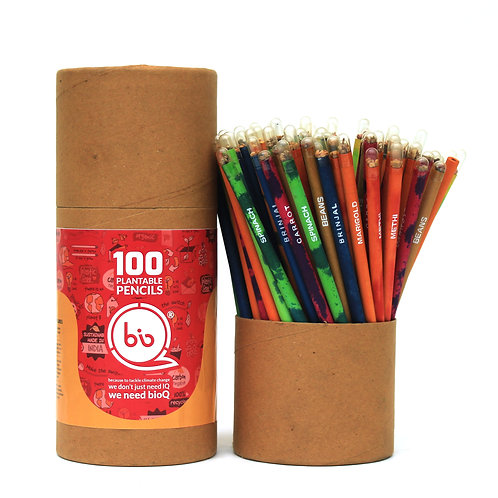 bioQ Box of 100 Plantable Seed Pencils | Eco Friendly Box for Offices | Recycled