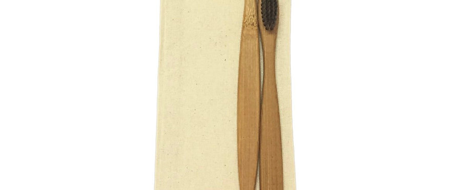 Bamboo Toothbrush - Charcoal Bristles (Pack Of 2)