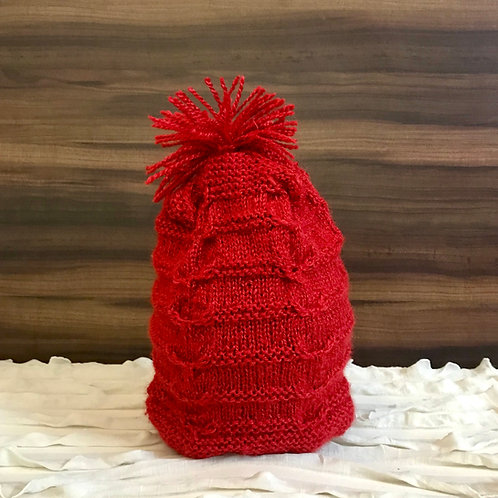 Red Intricate Hand-Knit Beanie