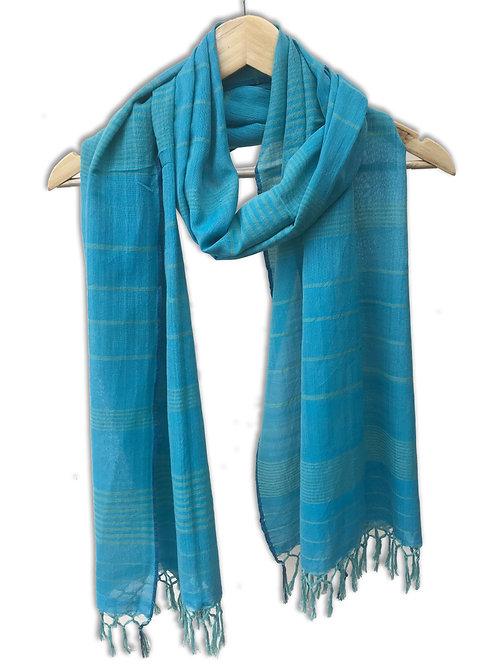 Handwoven Cotton Stole (Sky Blue)