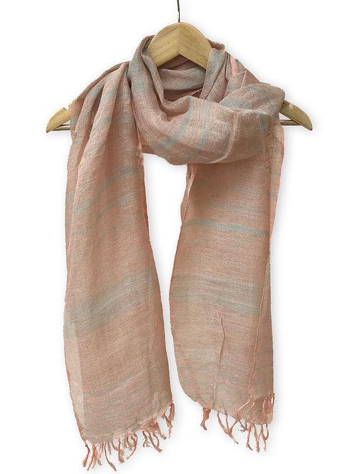 Handwoven Linen Stole (Pastel Chic)