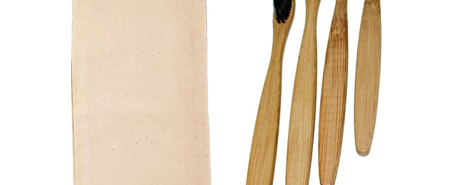 Bamboo Toothbrush - Charcoal Bristles (Pack Of 4)