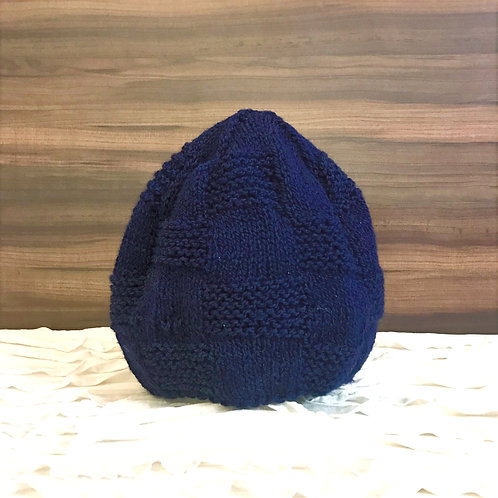 Navy Blue Brick Hand-knit Beanie