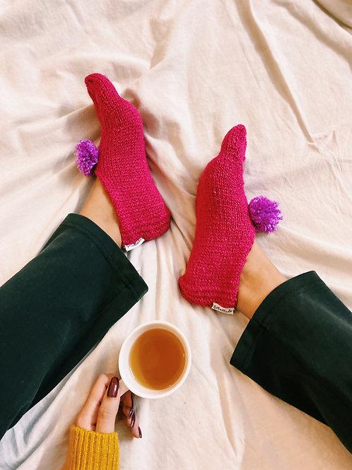 Pink Hand Knit Socks