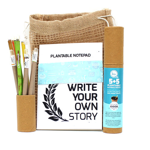 bioQ Eco Friendly Plantable Jute Kit With Plantable A5 Size Notepad + 5 Seed Pen