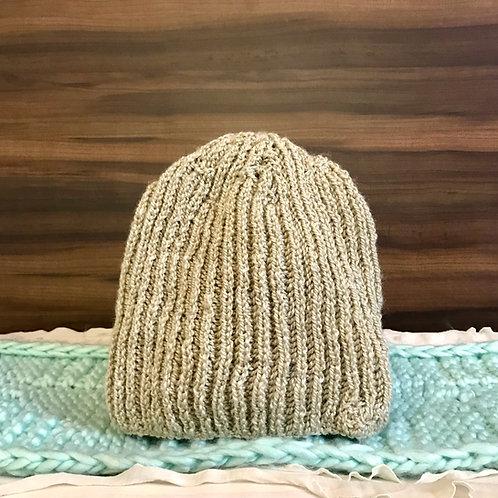 Beige Classic Hand-knit Beanie