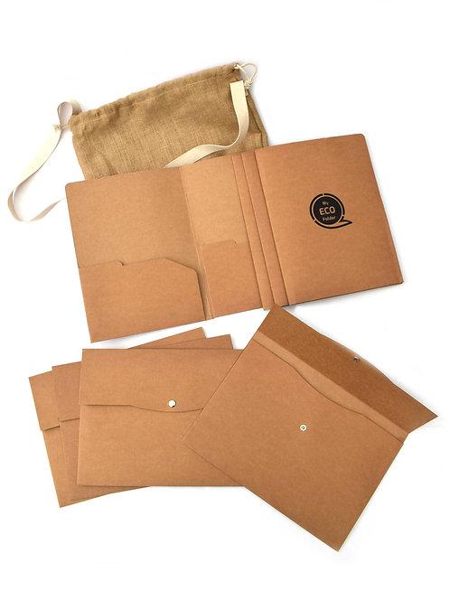 bioQ Office Eco Folders in a Large Jute Bag (4 Kraft A4 Folders + 4 Kraft A4 Pou