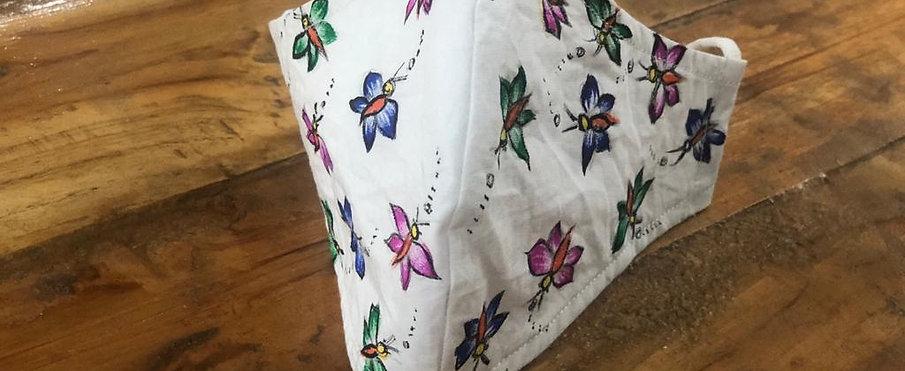 2 Layer Handpainted Cotton Masks(Butterflies)